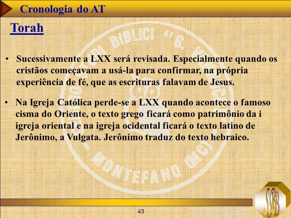 www.studibiblici.it 43 Cronologia do AT Torah Sucessivamente a LXX será revisada.