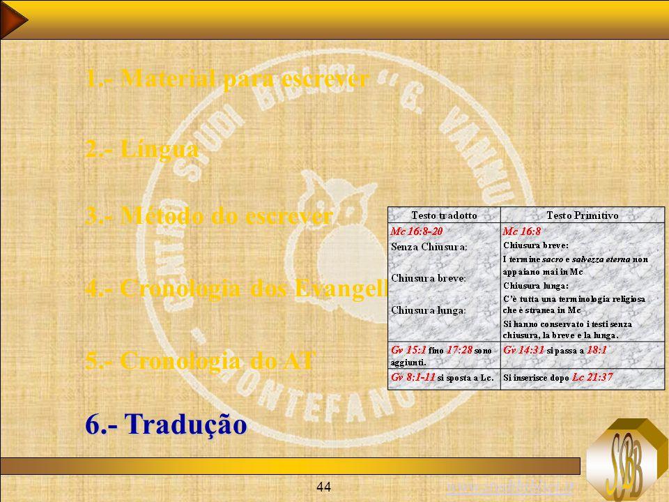 www.studibiblici.it 44 1.- Material para escrever 2.- Língua 3.- Método do escrever 4.- Cronologia dos Evangelhos 5.- Cronologia do AT 6.- Tradução