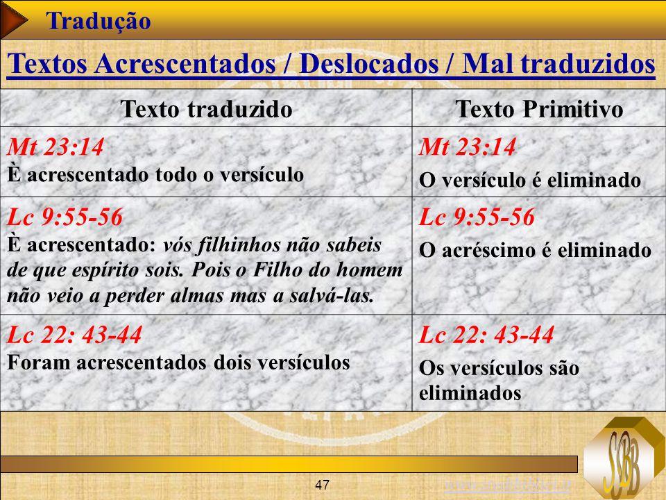 www.studibiblici.it 47 Tradução Texto traduzidoTexto Primitivo Mt 23:14 È acrescentado todo o versículo Mt 23:14 O versículo é eliminado Lc 9:55-56 È acrescentado: vós filhinhos não sabeis de que espírito sois.