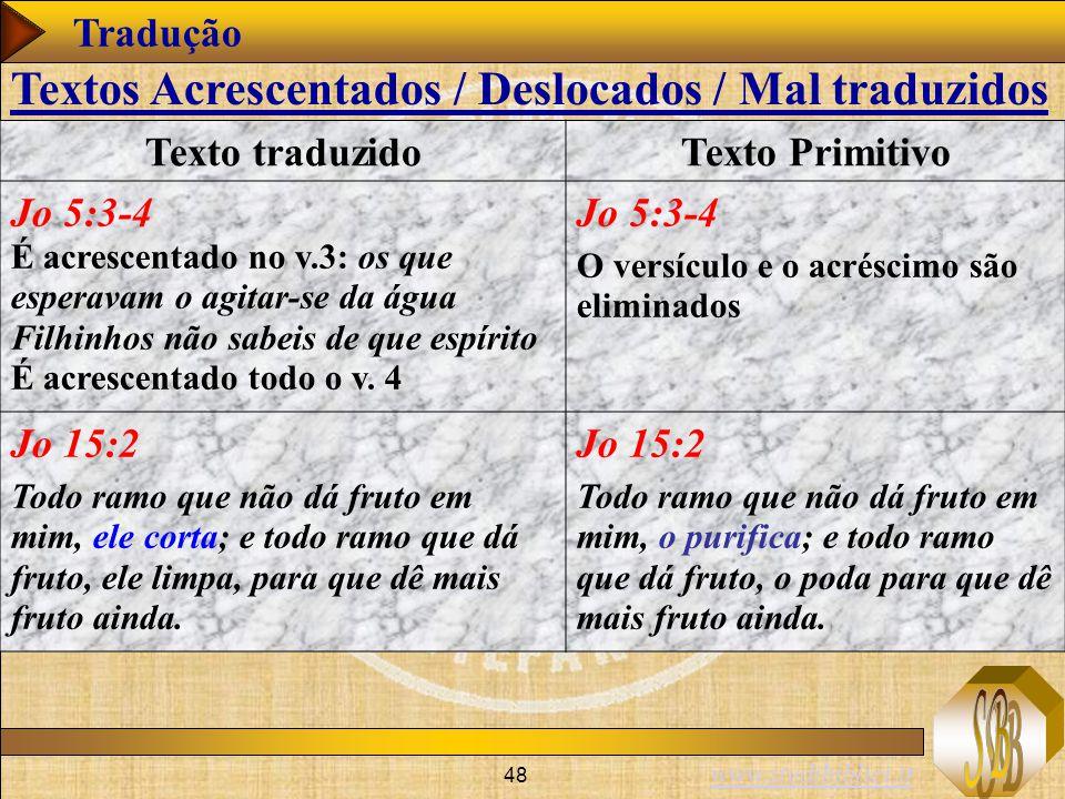 www.studibiblici.it 48 Tradução Texto traduzidoTexto Primitivo Jo 5:3-4 É acrescentado no v.3: os que esperavam o agitar-se da água Filhinhos não sabe