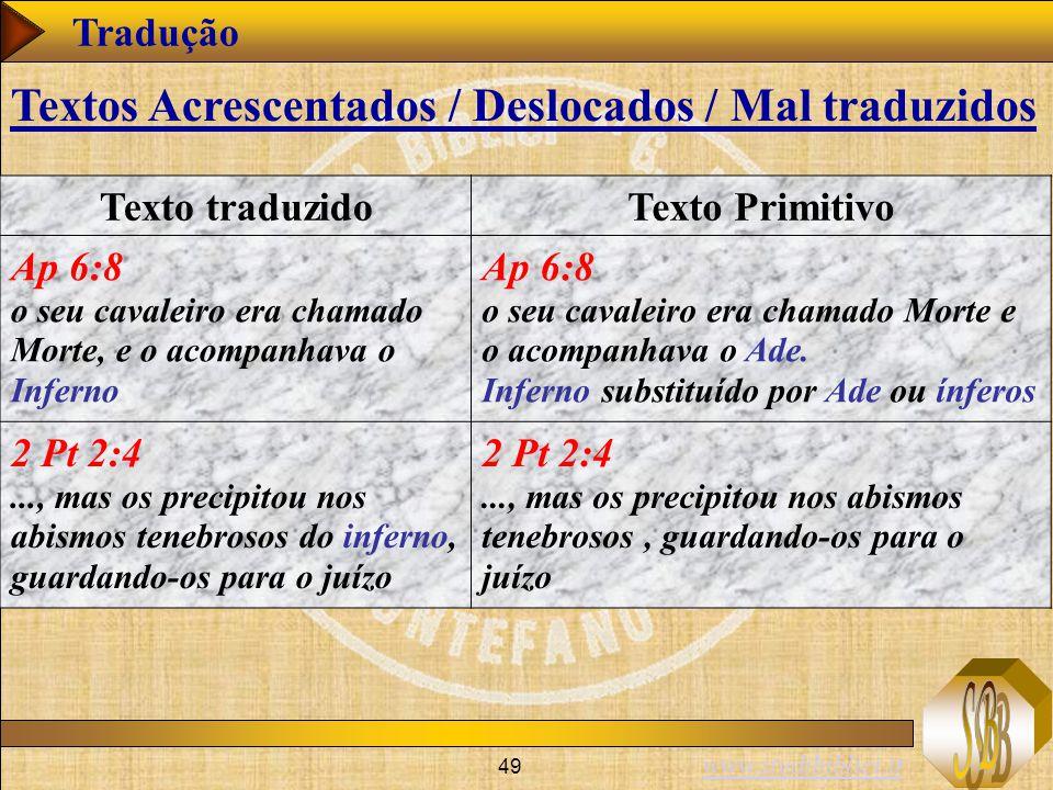 www.studibiblici.it 49 Tradução Texto traduzidoTexto Primitivo Ap 6:8 o seu cavaleiro era chamado Morte, e o acompanhava o Inferno Ap 6:8 o seu cavale