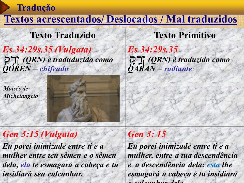 www.studibiblici.it 53 Tradução Texto TraduzidoTexto Primitivo Es 34:29s.35 (Vulgata) (QRN) è traduduzido como QOREN = chifrudo Es 34:29s.35 (QRN) è t