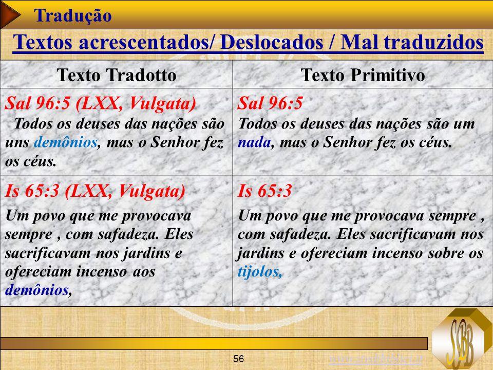 www.studibiblici.it 56 Tradução Texto TradottoTexto Primitivo Sal 96:5 (LXX, Vulgata) Todos os deuses das nações são uns demônios, mas o Senhor fez os