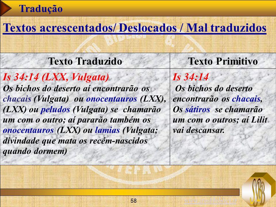 www.studibiblici.it 58 Tradução Texto TraduzidoTexto Primitivo Is 34:14 (LXX, Vulgata) Os bichos do deserto aí encontrarão os chacais (Vulgata) ou onocentauros (LXX), (LXX) ou peludos (Vulgata) se chamarão um com o outro; aí pararão também os onocentauros (LXX) ou lamias (Vulgata; divindade que mata os recém-nascidos quando dormem) Is 34:14 Os bichos do deserto encontrarão os chacais, Os sátiros se chamarão um com o outros; aí Lilit vai descansar.