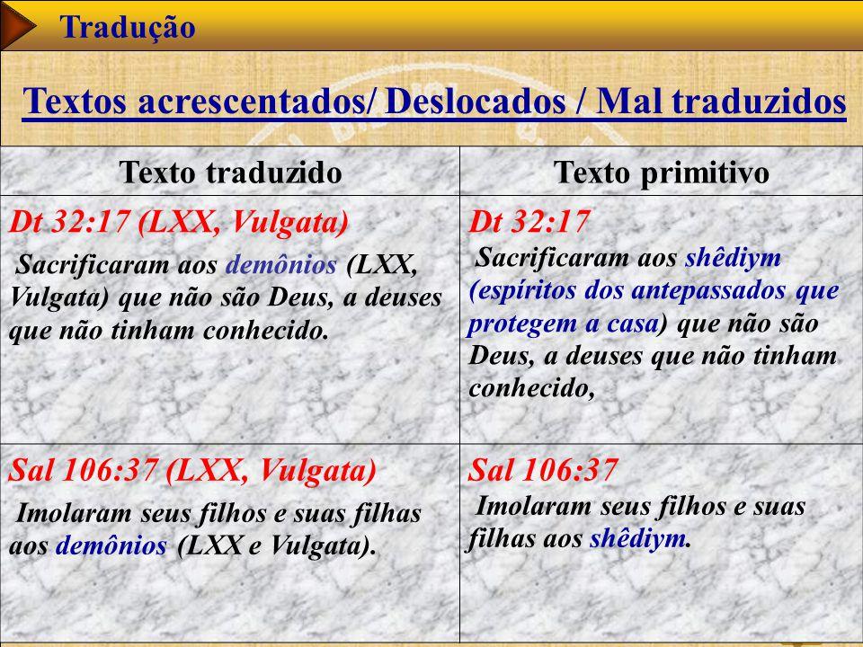 www.studibiblici.it 59 Tradução Texto traduzidoTexto primitivo Dt 32:17 (LXX, Vulgata) Sacrificaram aos demônios (LXX, Vulgata) que não são Deus, a deuses que não tinham conhecido.