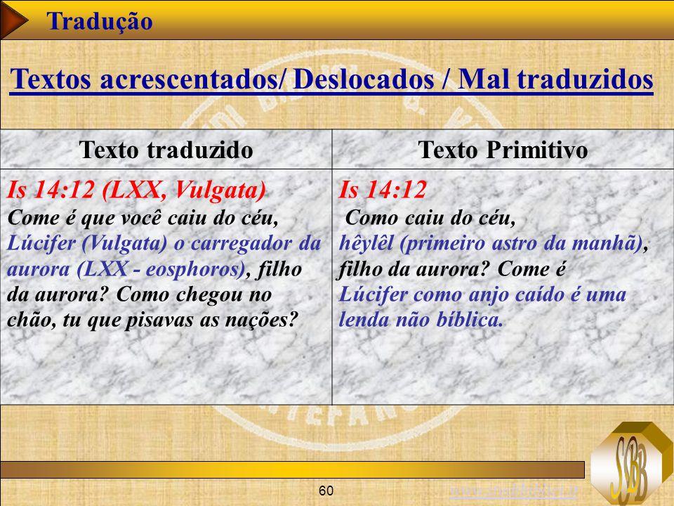 www.studibiblici.it 60 Tradução Texto traduzidoTexto Primitivo Is 14:12 (LXX, Vulgata) Come é que você caiu do céu, Lúcifer (Vulgata) o carregador da aurora (LXX - eosphoros), filho da aurora.