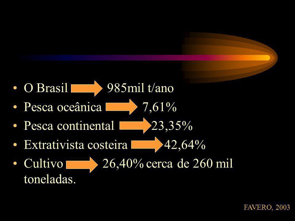 O Brasil 985mil t/ano Pesca oceânica 7,61% Pesca continental 23,35% Extrativista costeira 42,64% Cultivo 26,40% cerca de 260 mil toneladas.