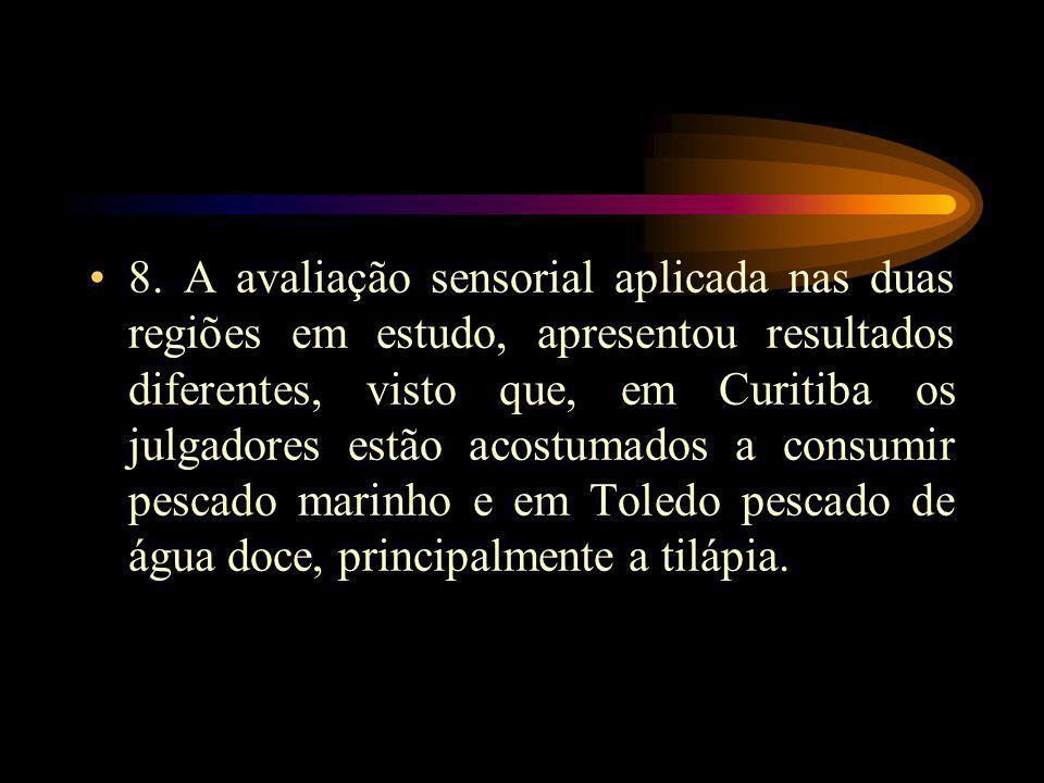 8. A avaliação sensorial aplicada nas duas regiões em estudo, apresentou resultados diferentes, visto que, em Curitiba os julgadores estão acostumados