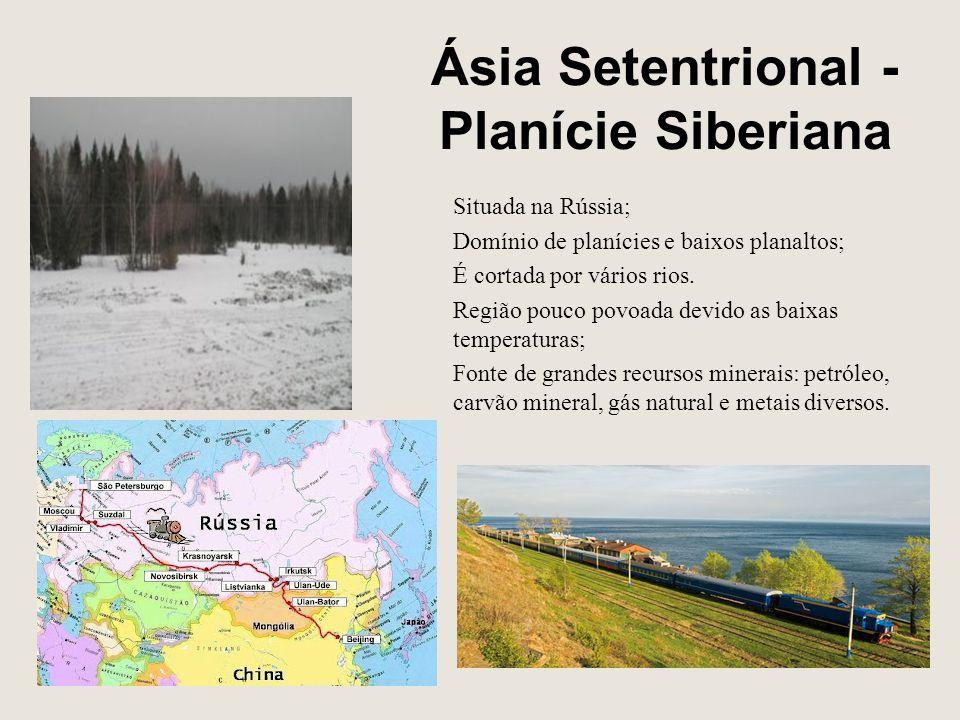 Ásia Setentrional - Planície Siberiana Situada na Rússia; Domínio de planícies e baixos planaltos; É cortada por vários rios. Região pouco povoada dev