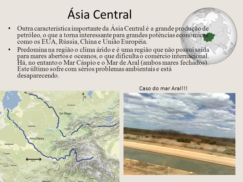 Ásia Central Outra característica importante da Ásia Central é a grande produção de petróleo, o que a torna interessante para grandes potências econômicas como os EUA, Rússia, China e União Européia.