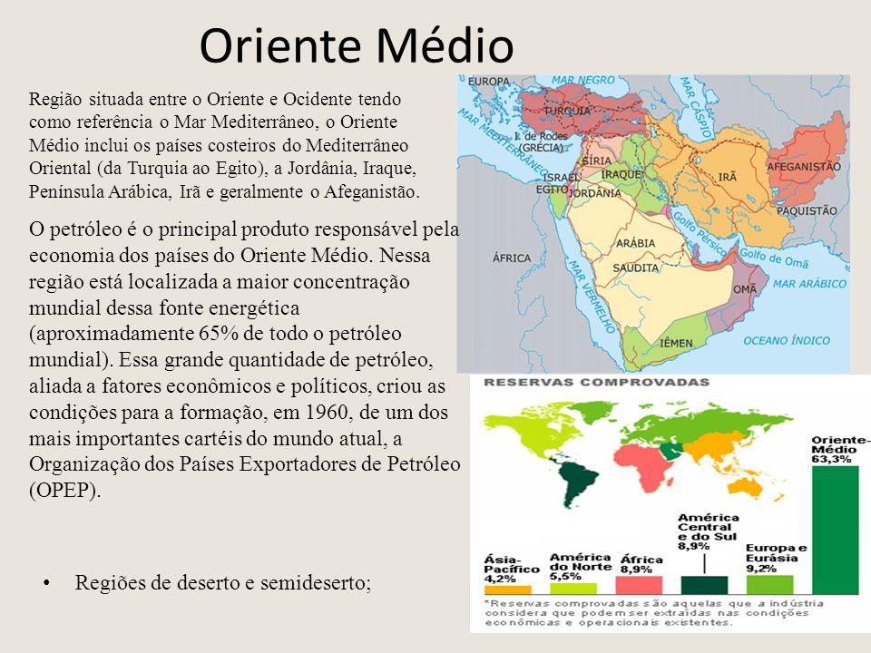 Oriente Médio Regiões de deserto e semideserto; Região situada entre o Oriente e Ocidente tendo como referência o Mar Mediterrâneo, o Oriente Médio inclui os países costeiros do Mediterrâneo Oriental (da Turquia ao Egito), a Jordânia, Iraque, Península Arábica, Irã e geralmente o Afeganistão.