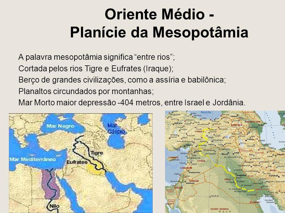 Oriente Médio - Planície da Mesopotâmia A palavra mesopotâmia significa entre rios ; Cortada pelos rios Tigre e Eufrates (Iraque); Berço de grandes civilizações, como a assíria e babilônica; Planaltos circundados por montanhas; Mar Morto maior depressão -404 metros, entre Israel e Jordânia.