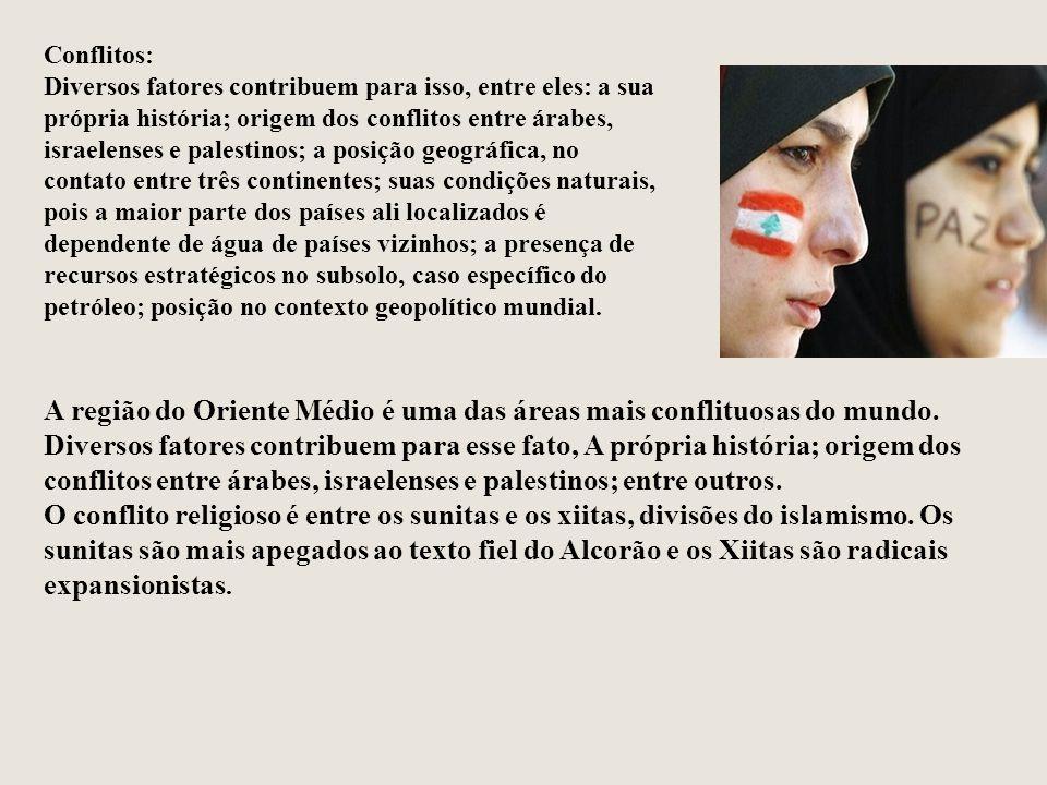 Conflitos: Diversos fatores contribuem para isso, entre eles: a sua própria história; origem dos conflitos entre árabes, israelenses e palestinos; a p