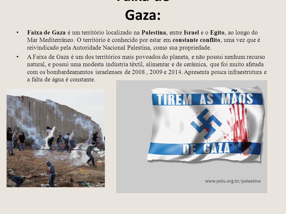 Faixa de Gaza: Faixa de Gaza é um território localizado na Palestina, entre Israel e o Egito, ao longo do Mar Mediterrâneo.