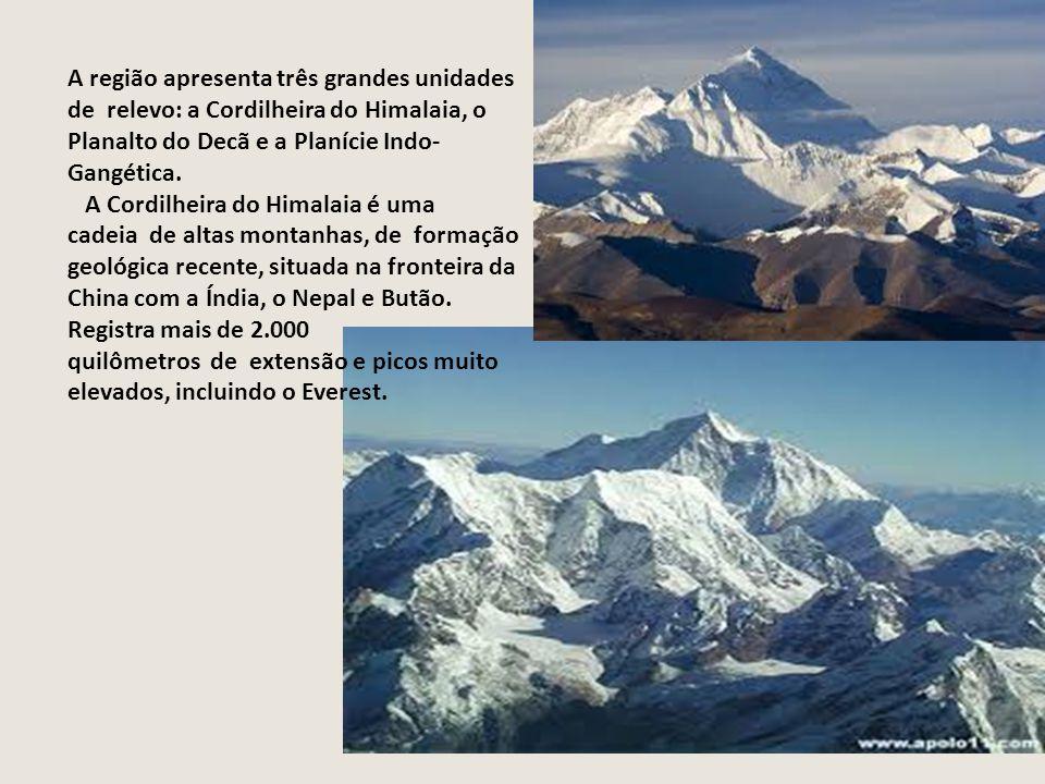 A região apresenta três grandes unidades de relevo: a Cordilheira do Himalaia, o Planalto do Decã e a Planície Indo- Gangética.