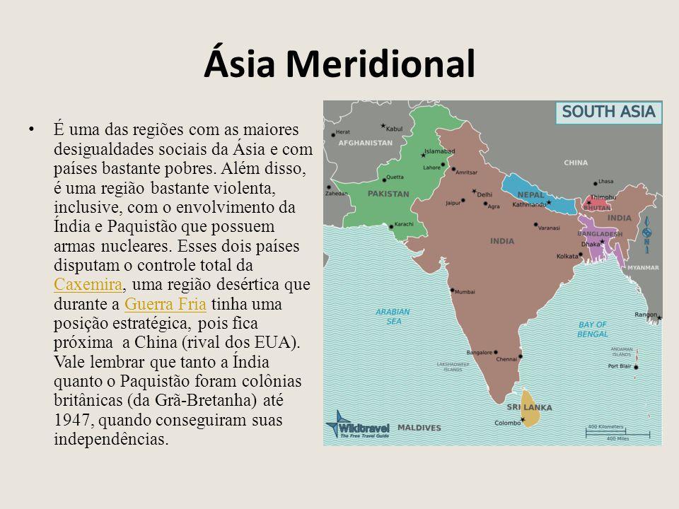 Ásia Meridional É uma das regiões com as maiores desigualdades sociais da Ásia e com países bastante pobres. Além disso, é uma região bastante violent