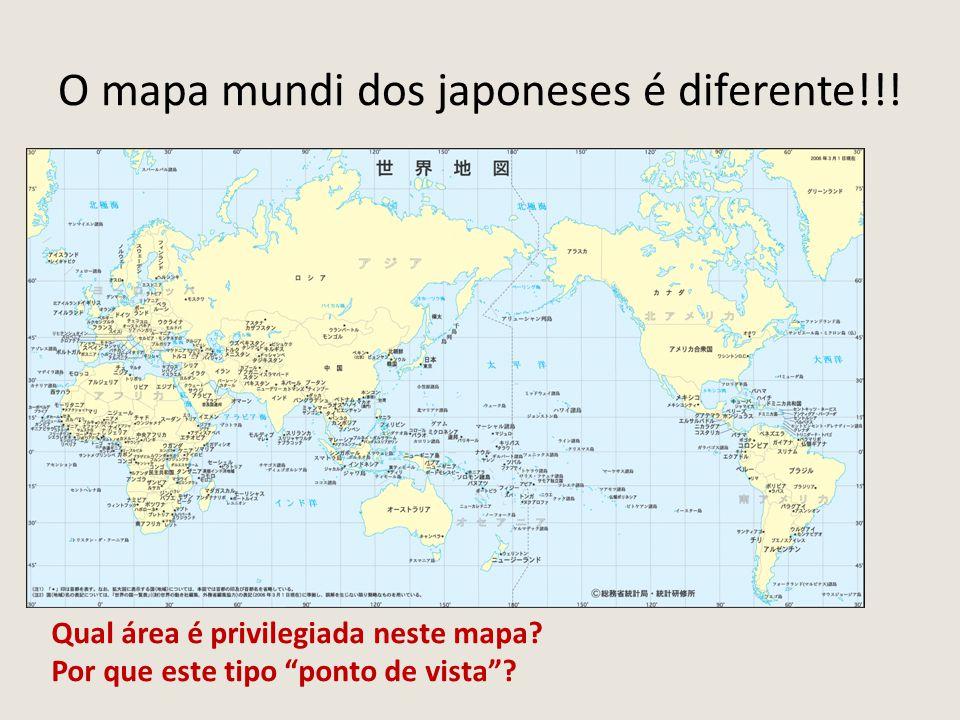 """O mapa mundi dos japoneses é diferente!!! Qual área é privilegiada neste mapa? Por que este tipo """"ponto de vista""""?"""