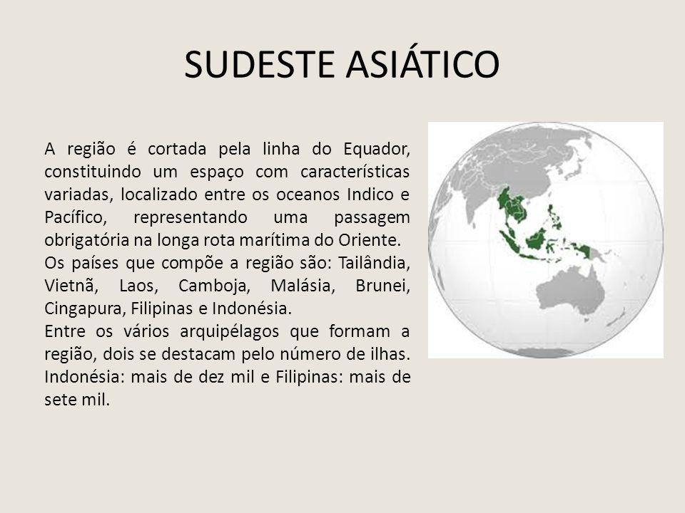 SUDESTE ASIÁTICO A região é cortada pela linha do Equador, constituindo um espaço com características variadas, localizado entre os oceanos Indico e P