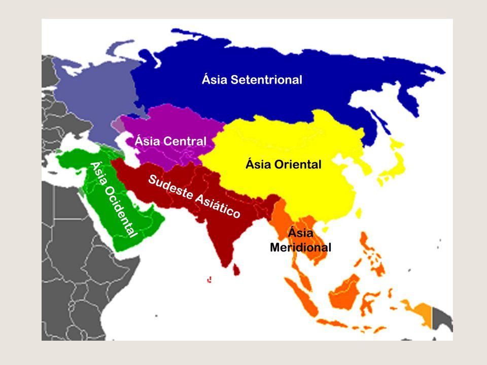 Norte da Ásia- Setentrional Rússia (parte asiática) Com a maior área territorial das Ásia; Clima Polar e Subpolar; Vegetação de Tundra e Taiga (Conífera) Solo tchernozion: Rico em nutrientes Região rica de petróleo e gás!!!