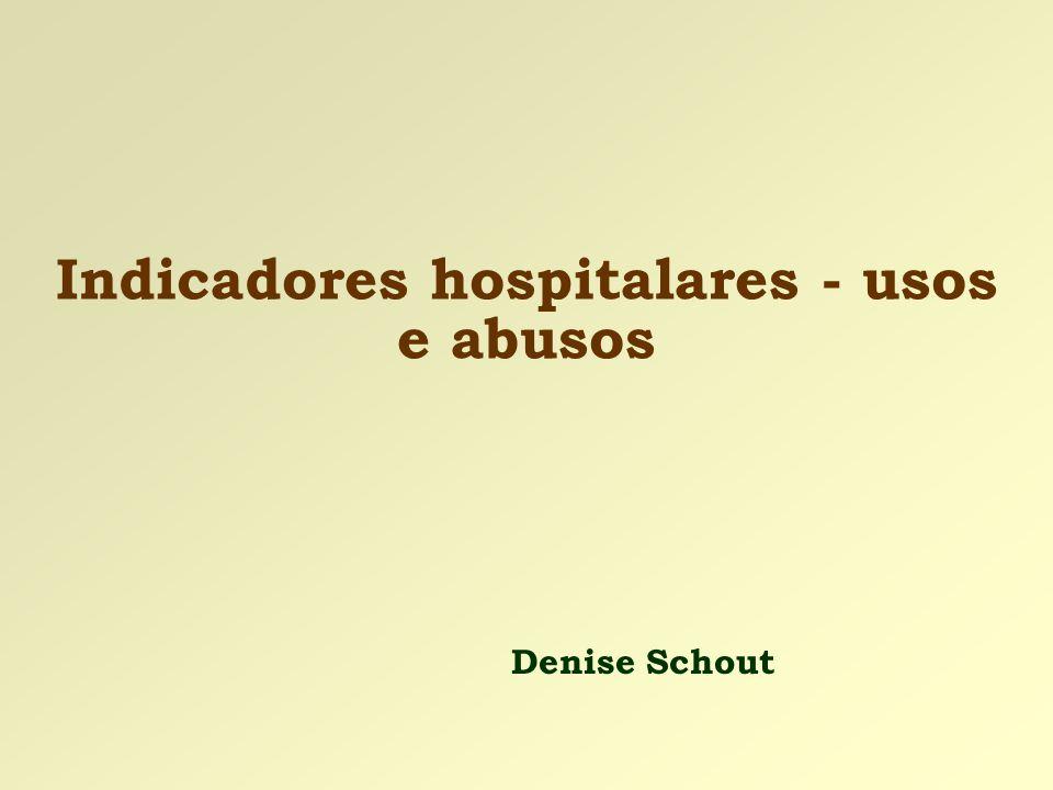 Indicadores hospitalares - usos e abusos Denise Schout