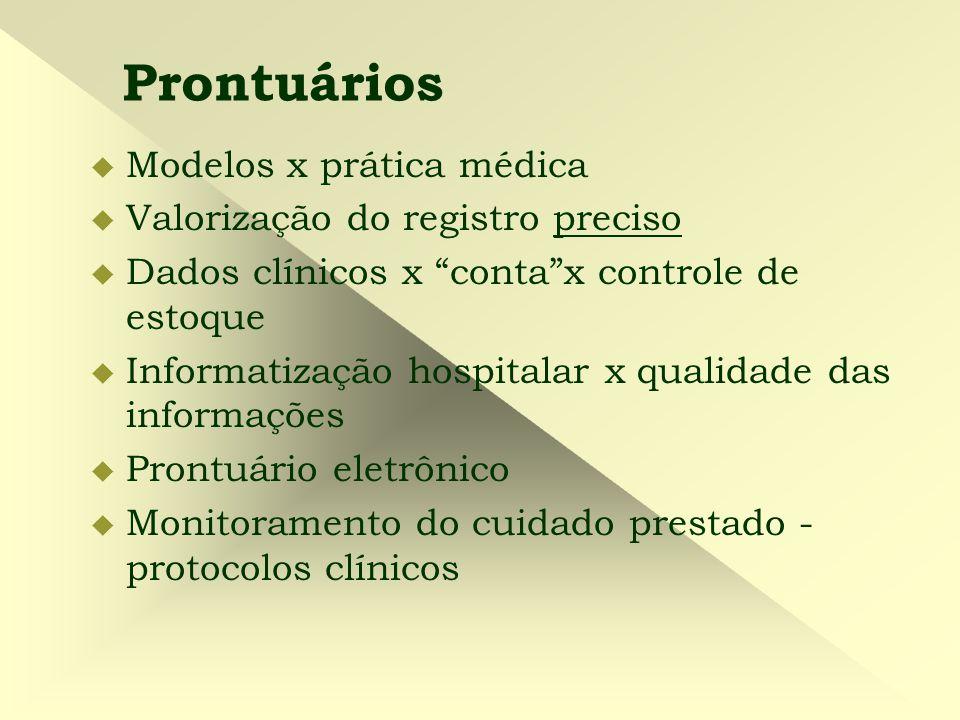 """Prontuários  Modelos x prática médica  Valorização do registro preciso  Dados clínicos x """"conta""""x controle de estoque  Informatização hospitalar x"""