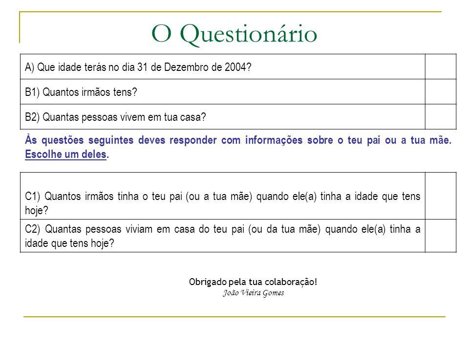 O Questionário A) Que idade terás no dia 31 de Dezembro de 2004.