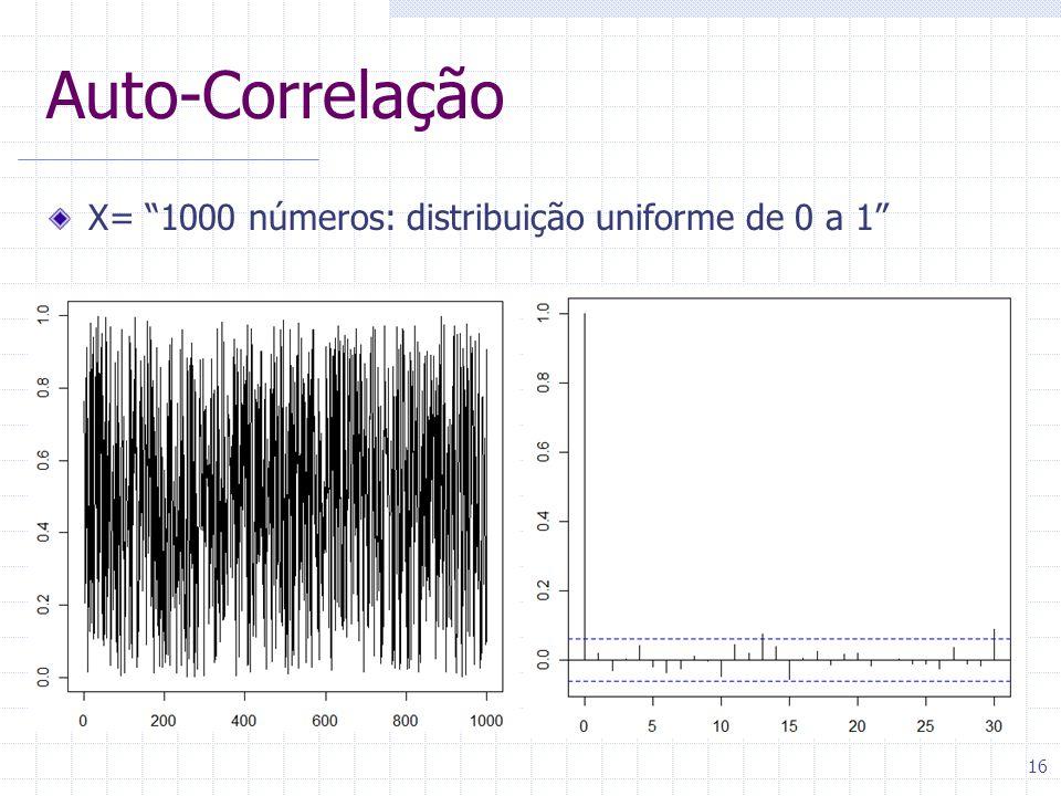 16 Auto-Correlação X= 1000 números: distribuição uniforme de 0 a 1
