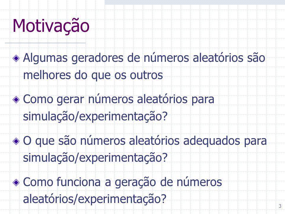3 Motivação Algumas geradores de números aleatórios são melhores do que os outros Como gerar números aleatórios para simulação/experimentação.