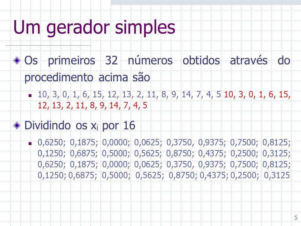 6 Terminologia Semente x 0 = valor usado para iniciar a seqüência = 5 Ciclo Somente os 16 primeiros números são únicos O 17º é igual ao primeiro Dado um número, o próximo será sempre o mesmo O tamanho do ciclo deste gerador é 16 Cauda Alguns geradores não repetem a parte inicial da seqüência de números, que é chamada de cauda Período O período do gerador é a soma do tamanho da cauda e o tamanho do ciclo