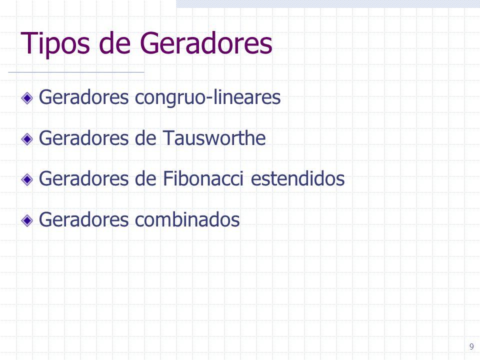 9 Tipos de Geradores Geradores congruo-lineares Geradores de Tausworthe Geradores de Fibonacci estendidos Geradores combinados