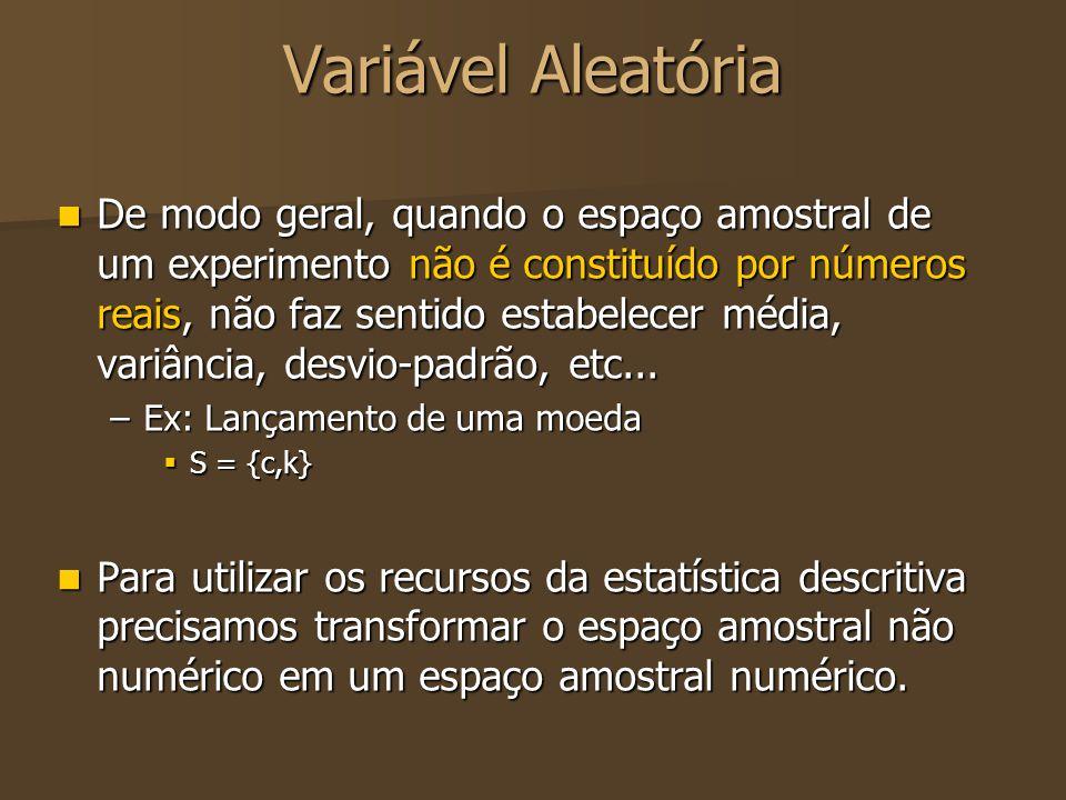Variável Aleatória De modo geral, quando o espaço amostral de um experimento não é constituído por números reais, não faz sentido estabelecer média, v