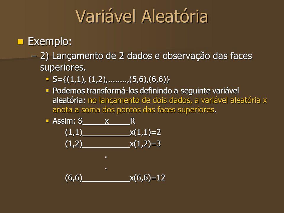 Variável Aleatória Exemplo: Exemplo: –2) Lançamento de 2 dados e observação das faces superiores.  S={(1,1), (1,2),........,(5,6),(6,6)}  Podemos tr