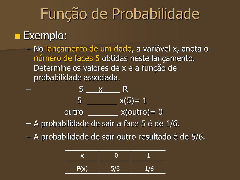 Exemplo: Exemplo: –No lançamento de um dado, a variável x, anota o número de faces 5 obtidas neste lançamento. Determine os valores de x e a função de