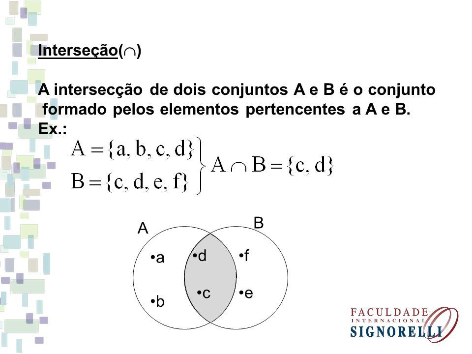 a b d c f e B A Interseção(  ) A intersecção de dois conjuntos A e B é o conjunto formado pelos elementos pertencentes a A e B. Ex.: