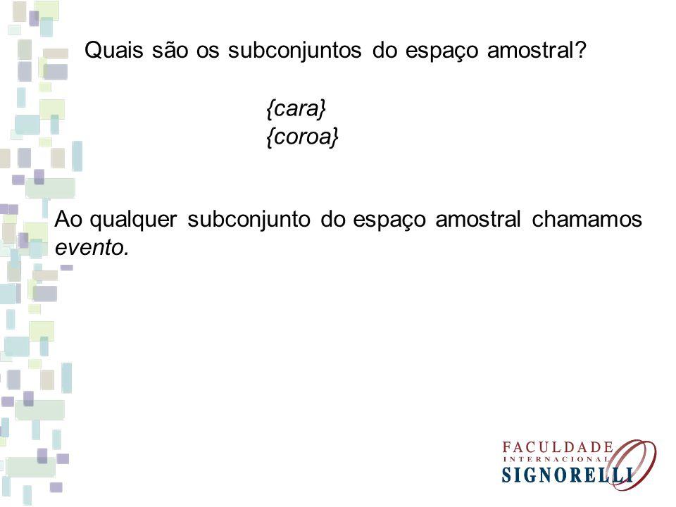 Quais são os subconjuntos do espaço amostral? {cara} {coroa} Ao qualquer subconjunto do espaço amostral chamamos evento.