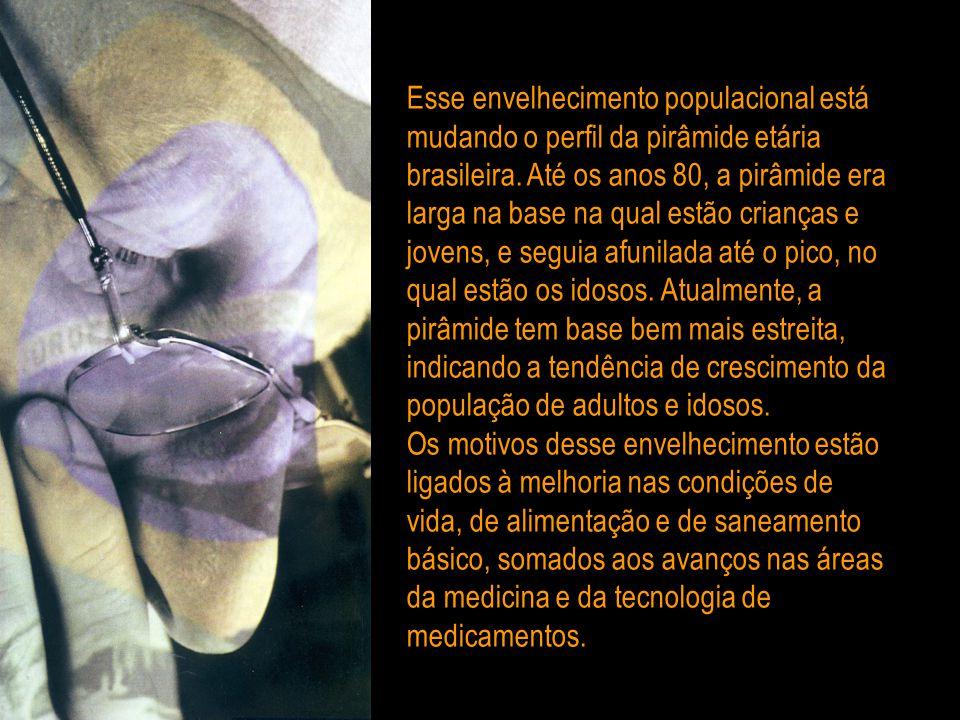 Esse envelhecimento populacional está mudando o perfil da pirâmide etária brasileira.
