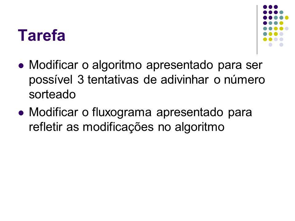 Tarefa Modificar o algoritmo apresentado para ser possível 3 tentativas de adivinhar o número sorteado Modificar o fluxograma apresentado para refleti