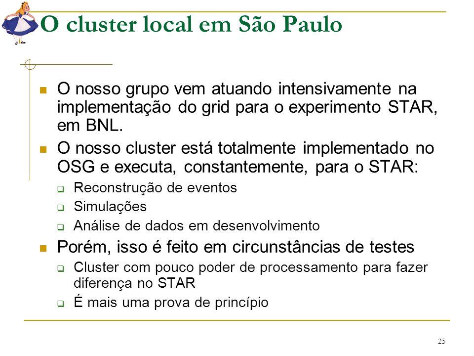 25 O cluster local em São Paulo O nosso grupo vem atuando intensivamente na implementação do grid para o experimento STAR, em BNL. O nosso cluster est