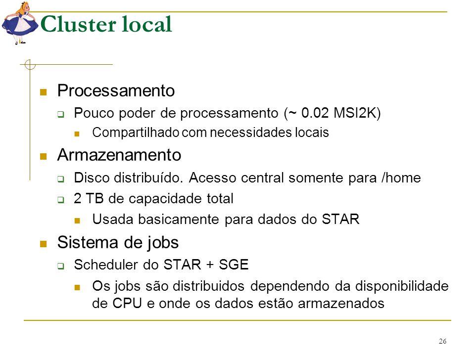 26 Cluster local Processamento  Pouco poder de processamento (~ 0.02 MSI2K) Compartilhado com necessidades locais Armazenamento  Disco distribuído.