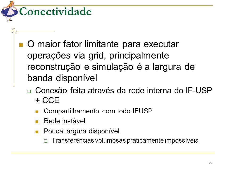 27 Conectividade O maior fator limitante para executar operações via grid, principalmente reconstrução e simulação é a largura de banda disponível  C