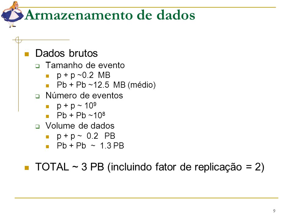 9 Armazenamento de dados Dados brutos  Tamanho de evento p + p ~0.2 MB Pb + Pb ~12.5 MB (médio)  Número de eventos p + p ~ 10 9 Pb + Pb ~10 8  Volu