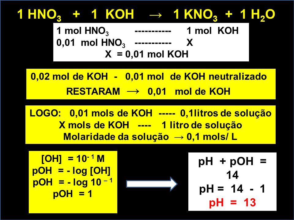 1 mol HNO 3 ----------- 1 mol KOH 0,01 mol HNO 3 ----------- X X = 0,01 mol KOH 1 HNO 3 + 1 KOH → 1 KNO 3 + 1 H 2 O 0,02 mol de KOH - 0,01 mol de KOH