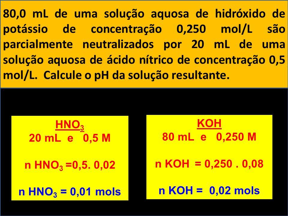 80,0 mL de uma solução aquosa de hidróxido de potássio de concentração 0,250 mol/L são parcialmente neutralizados por 20 mL de uma solução aquosa de á