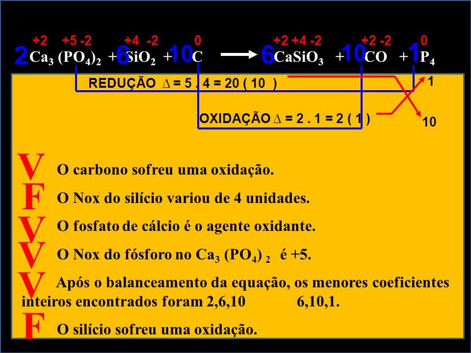 Ca 3 (PO 4 ) 2 + SiO 2 + C CaSiO 3 + CO + P 4 O carbono sofreu uma oxidação. O Nox do silício variou de 4 unidades. O fosfato de cálcio é o agente oxi