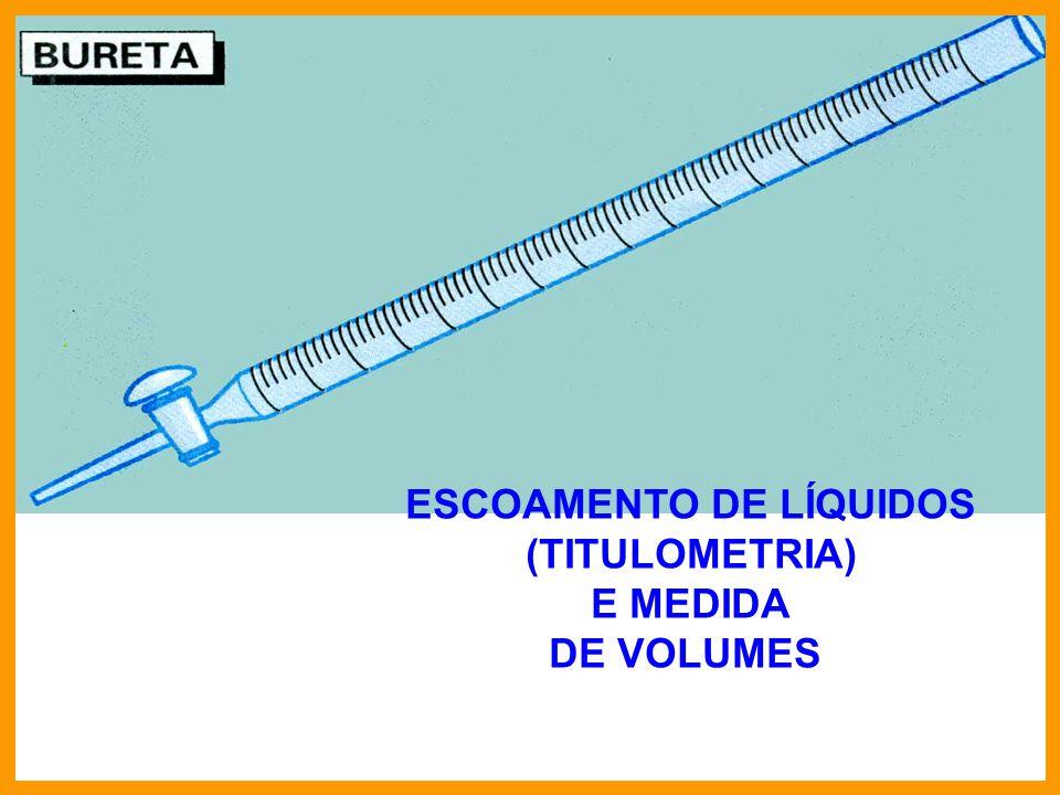 ESCOAMENTO DE LÍQUIDOS (TITULOMETRIA) E MEDIDA DE VOLUMES