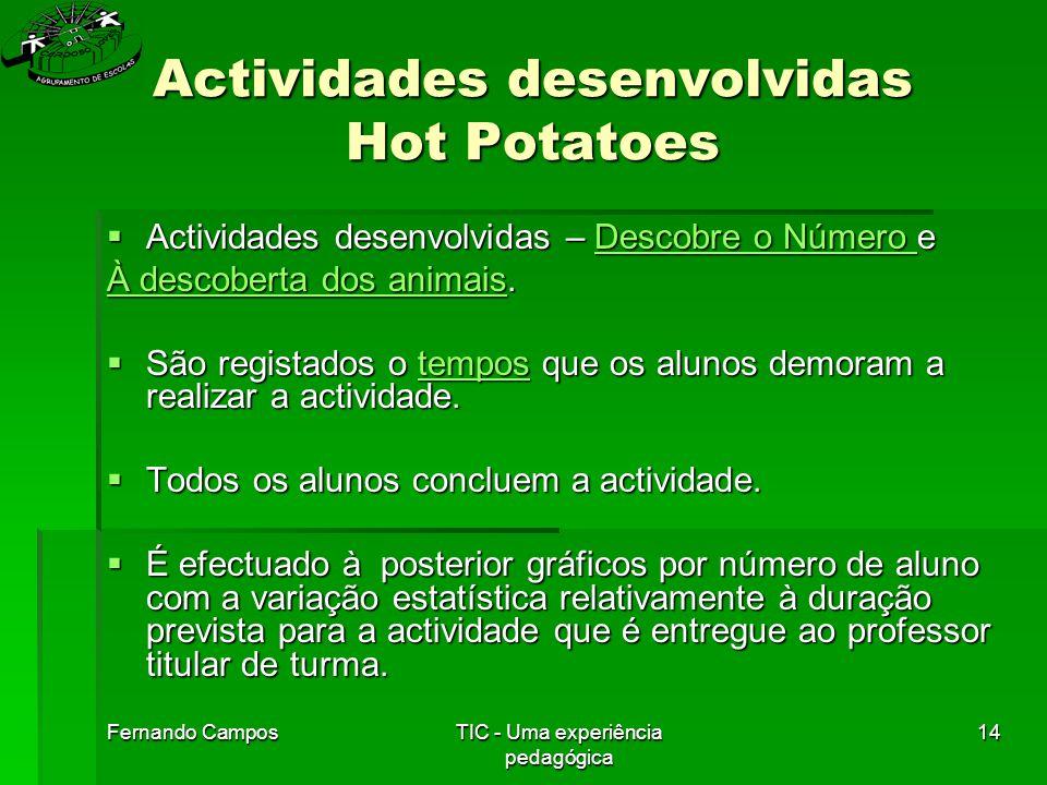 Fernando CamposTIC - Uma experiência pedagógica 14 Actividades desenvolvidas Hot Potatoes  Actividades desenvolvidas – Descobre o Número e Descobre o Número Descobre o Número À descoberta dos animaisÀ descoberta dos animais.