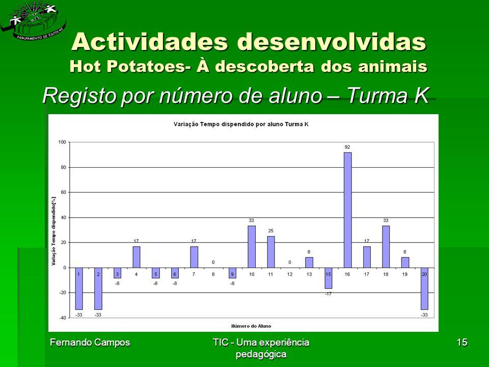 Fernando CamposTIC - Uma experiência pedagógica 15 Actividades desenvolvidas Hot Potatoes- À descoberta dos animais Registo por número de aluno – Turma K