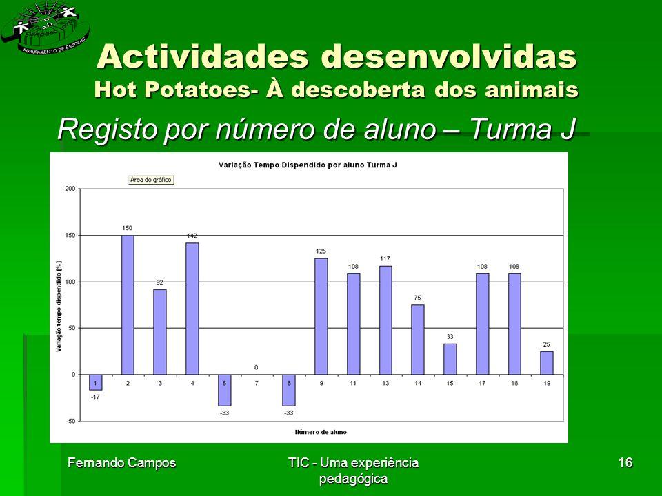 Fernando CamposTIC - Uma experiência pedagógica 16 Actividades desenvolvidas Hot Potatoes- À descoberta dos animais Registo por número de aluno – Turma J