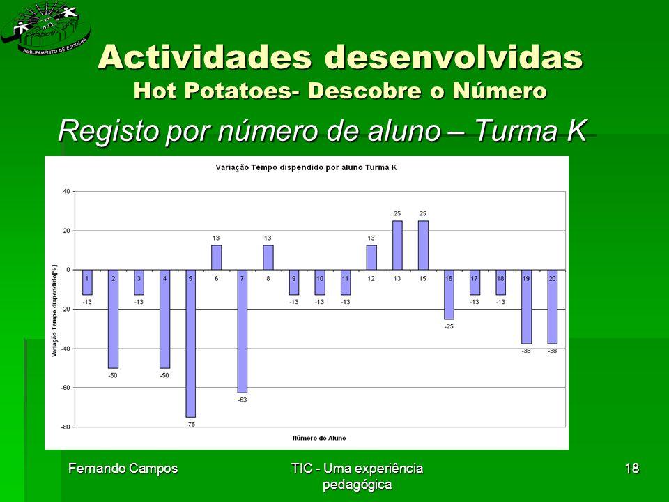 Fernando CamposTIC - Uma experiência pedagógica 18 Actividades desenvolvidas Hot Potatoes- Descobre o Número Registo por número de aluno – Turma K