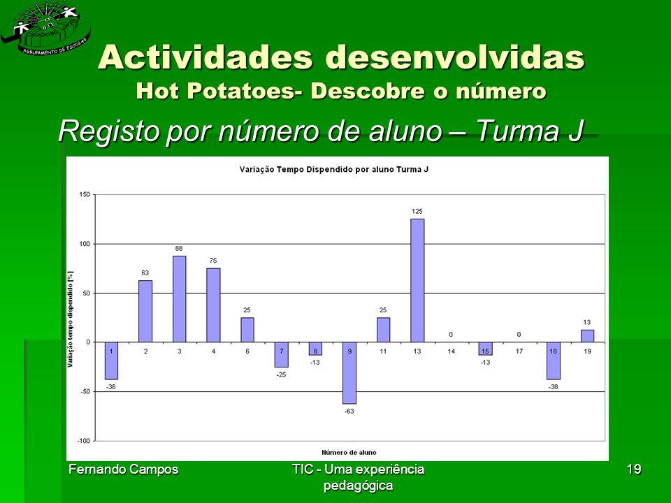 Fernando CamposTIC - Uma experiência pedagógica 19 Actividades desenvolvidas Hot Potatoes- Descobre o número Registo por número de aluno – Turma J